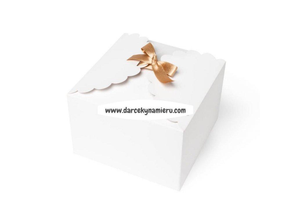 krabička biela so zlatou stuhou vhodná aj na cukrovinky